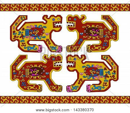Jaguar. Ethnic pattern of American Indians: the Aztecs, the Mayans, the Incas.  Vector illustration