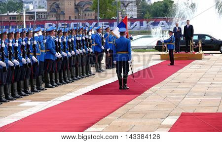 Belgrade Serbia. 16th August 2016. US Vice President Joseph 'Joe' Biden begins official visit to Belgrade Serbia. Serbian PM Aleksandar Vucic host US Vice President