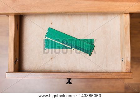 Computer Memory Planks In Open Drawer