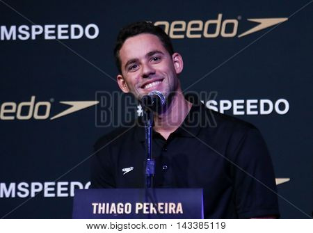 NEW YORK-DEC 15: Brazilian Olympic swimmer, Thiago Pereira speaks during the New York launch of Team Speedo and Speedo's Fastskin LZR Racer X at SIR Stage37 on December 15, 2015 in New York City.