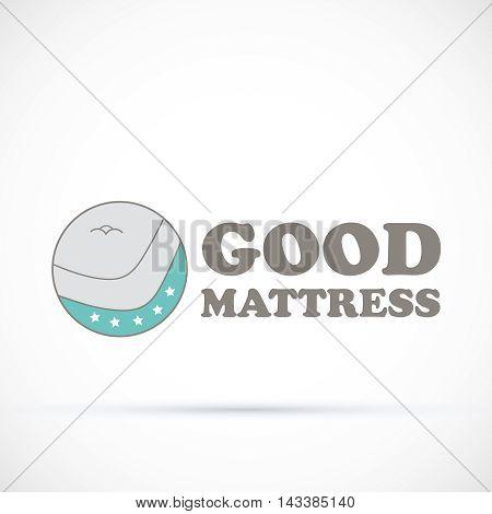 Logo sign salon matress round vector illustration