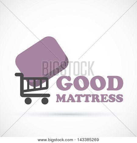 Logo sign matress add to cart vector illustration