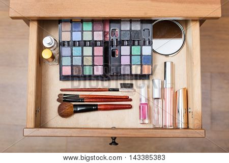 Makeup Set In Open Drawer