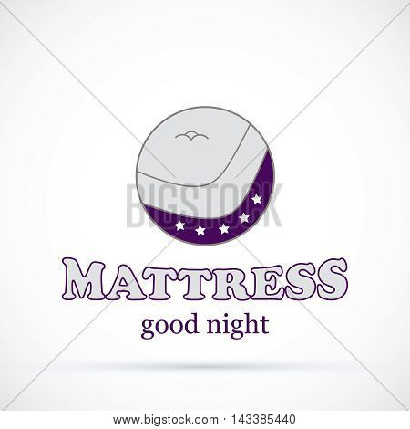 Logo round violet sign matress shop vector illustration