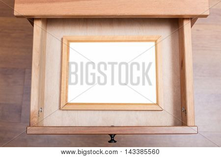 Wooden Picture Frame In Open Drawer