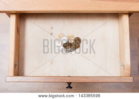 Russian Coins In Open Drawer