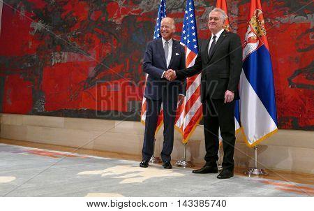 Belgrade Serbia. 16th August 2016. Meeting of the President of the Republic of Serbia Tomislav Nikolic and US Vice President Joseph 'Joe' Biden in Belgrade