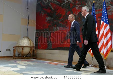 Belgrade Serbia. 16th August 2016. Meeting of the President of the Republic of Serbia Tomislav Nikolic and US Vice President Joseph 'Joe' Biden in Belgrade