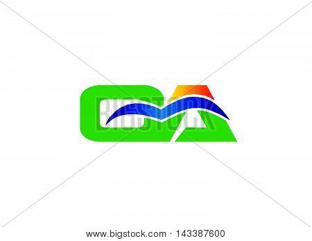Elegant black and gold alphabet A and C letter logo. Vector illustration