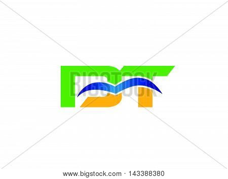 DT company group linked letter logo vector