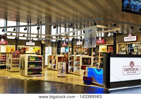 MOSCOW, RUSSIA- APRIL 9, 2015: Duty free shop in airport Sheremetyevo - International  airport, one of the three major airports in Moscow and Moscow region, have greatest passenger traffic in Russia