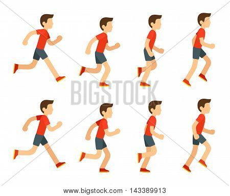 Running man animation sprite set. 8 frame loop. Flat cartoon style vector illustration.