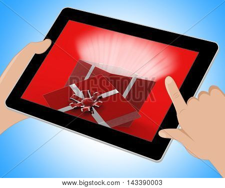 Surprise Giftbox Indicates Online Gift Celebration 3D Ilustration