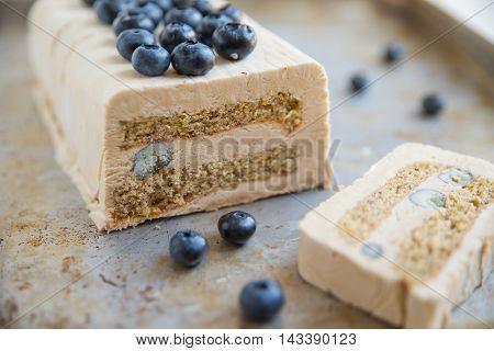 home made Blueberry Vanilla Semifreddo Ice Cream cake
