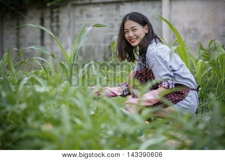 younger asian woman in home gardening hipster people lifestyle