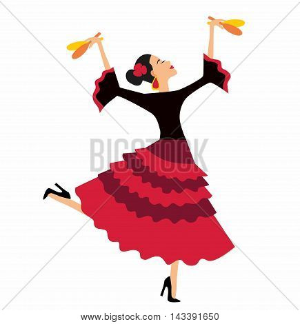 Mexican Fiesta Party Invitation with beautiful Mexican woman dancing with maracas. Illustration of beautiful latina dancer with maracas on white