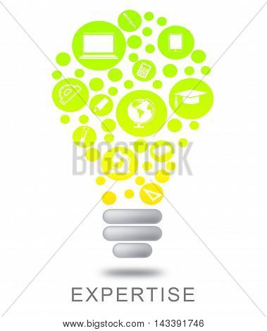 Expertise Lightbulb Indicates Proficient Skills And Experience