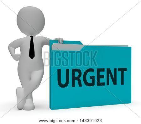 Urgent Folder Indicates Immediate Priority 3D Rendering