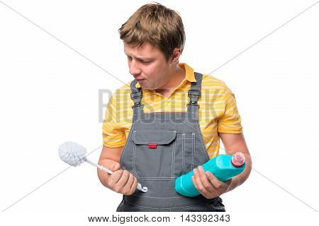 Portrait Of Cleaner With Brush To Clean The Toilet And Disinfectant Isolation