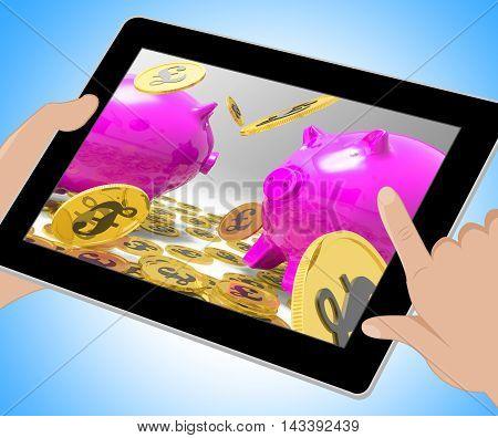Pound Coins Piggybanks Shows British Currency 3D Illustration