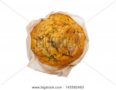 Muffin with spinach isolated on the white background
