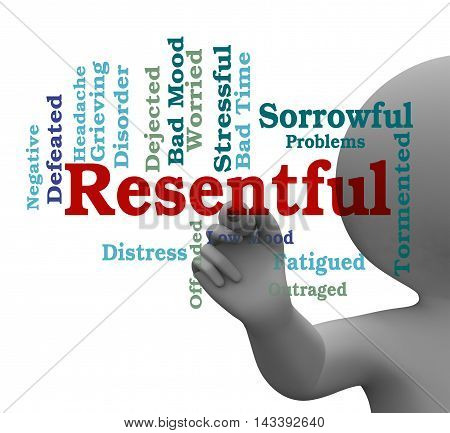 Resentful Word Means Envious And Grudging 3D Rendering