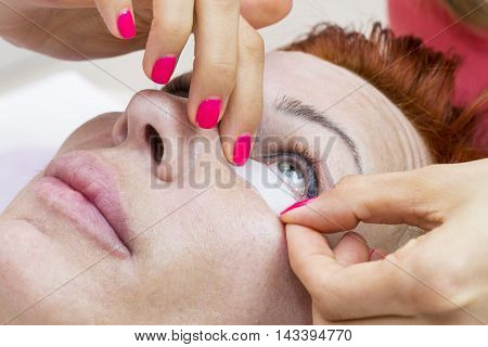 the application process in the beauty salon