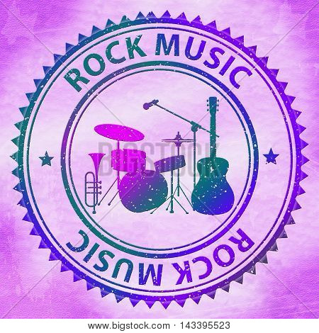 Rock Music Stamp Represents Pop Song Soundtracks
