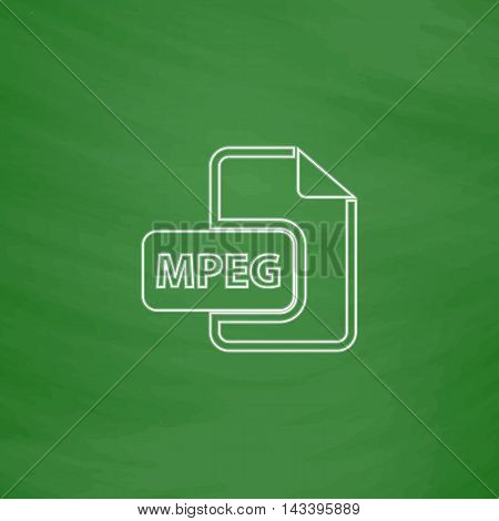 MPEG Outline vector icon. Imitation draw with white chalk on green chalkboard. Flat Pictogram and School board background. Illustration symbol