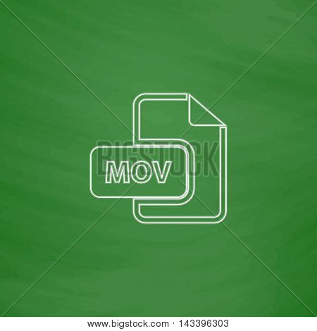 MOV Outline vector icon. Imitation draw with white chalk on green chalkboard. Flat Pictogram and School board background. Illustration symbol