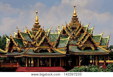 Samut Prakan Thailand - January 15 2013: Pavilion of the Enlightened at Ancient Siam heritage theme park