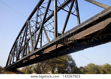 old rail way bridge vintage Metal railway bridge viaduct Bang Saphan Prachuab Thailand.
