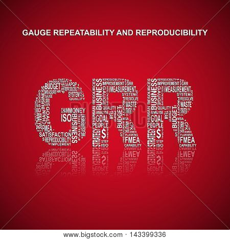 Gauge repeatability and reproducibility typography background. Red background with main title GRR filled by other words related with gauge repeatability and reproducibility method. Vector illustration poster