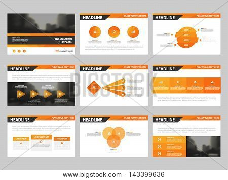 Orange triangle presentation templates Infographic elements template flat design set for annual report brochure flyer leaflet marketing advertising banner template