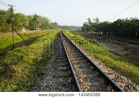 old railroad tracks at railway station transportation