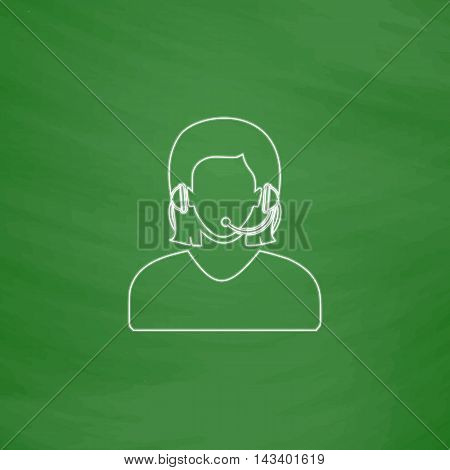 telephonist Outline vector icon. Imitation draw with white chalk on green chalkboard. Flat Pictogram and School board background. Illustration symbol