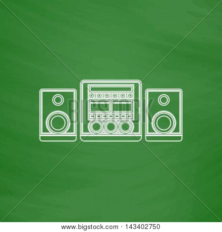 Sound System Outline vector icon. Imitation draw with white chalk on green chalkboard. Flat Pictogram and School board background. Illustration symbol