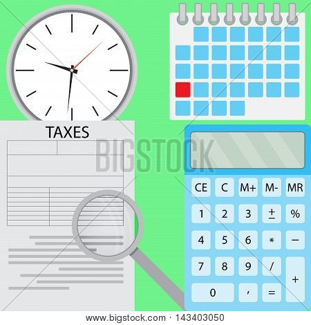 Tax flat design. Accounting money and taxation calculator and finance. Vector illustration