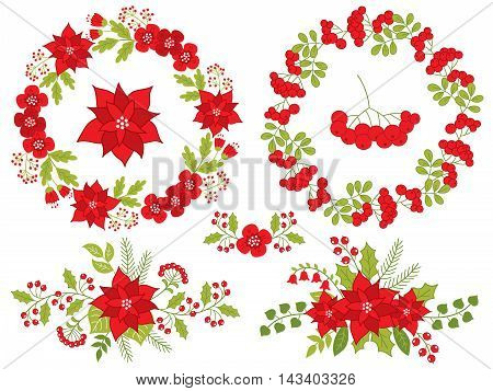 Vector Christmas set with poinsettia, wreath, berries, holly and ashberry
