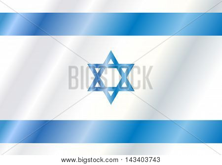 Israel Flag. Vector digital Illustration. Israel flag poster, background. Blue and white color, star of David. Vector illustration for Independence Day, Israel national holiday.