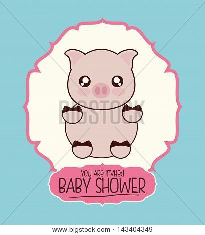pig cute animal cartoon baby shower card icon. Colorful and flat design. Vector illustration
