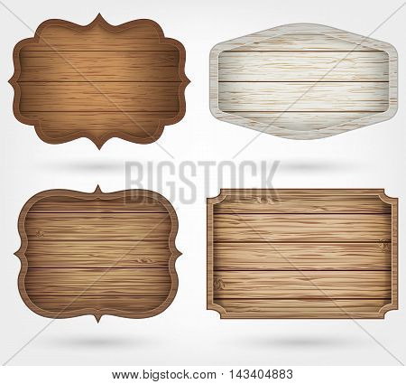Wooden signs collection. 4 realistic wooden signs on isolated background. Vintage style. Vector