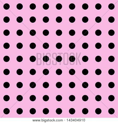 Dot. Polka Dot pattern. Polka Dots Classic Trend. Pink and black popular color. Black dots on pink background. Illustration for Art, Print, Fashion, textile print, bags, web Spring, Summer design.
