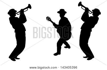 Jazz musicians trumpeter, guitarist and saxophonist silhouettes isolated on white background. Music black and white illustration. Jazz festival. Trio musicians. For Art, Print, Web design.