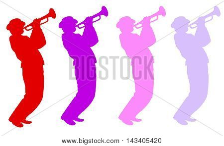 Jazz musicians trumpeters, trumpet. Music background. Abstract illustration. Red, blue, pink, violet, silhouettes on white background. Jazz festival, web site, flayer, brochure template
