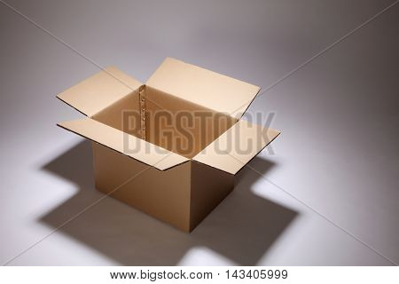 open cardboard box on the gray background