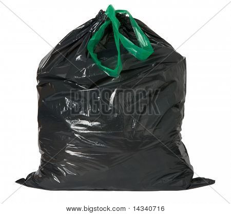 Black rubbish bag isolated on white background