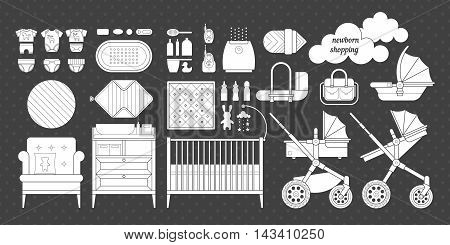Newborn essentials shopping list. Vector baby stuff for a newborn. The plan purchases for a newborn. Baby buy set. Cribs, baby stroller, childrens clothing, toys and other baby stuff for a newborn.