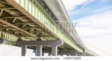 Perspective view of an overpass on the sky background.