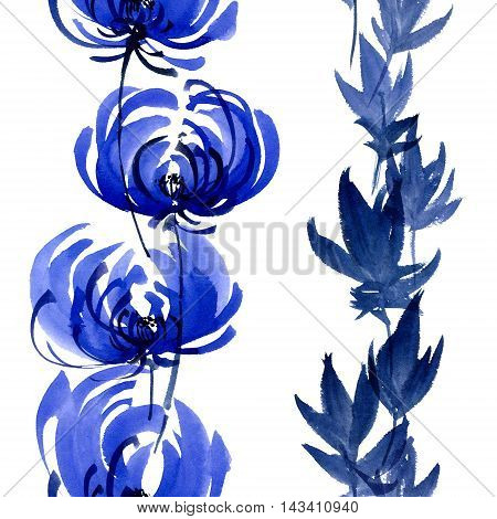 Watercolor and ink illustration of blue flowers buds and leaves. Oriental traditional painting in style sumi-e gohua. Decorative seamless patterns.